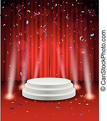 Stage background with confetti and - Vector Illustration of...