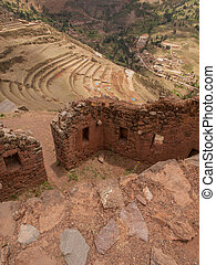 Pisac Sacred Valley - Ancient agricultural terraces of the...