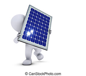 3D Morph Man with solar panel - 3D Render of Morph Man with...