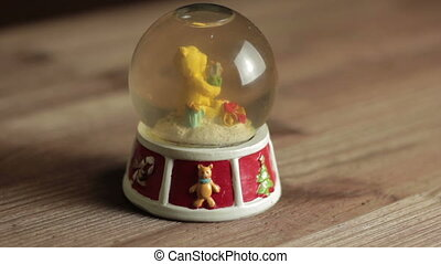 christmas snow globe with a santa claus