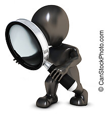 3D Morph Man searching with magnifying glass - 3D Render of...