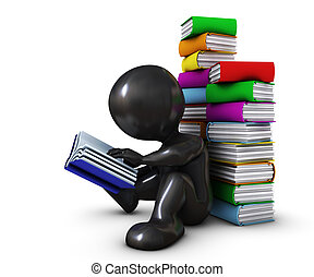 3D Morph Man reading book - 3D Render of Morph Man reading...