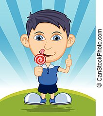 The boy is eating a lollipop