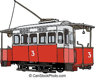 Vintage red tramway - Hand drawing of a vintage red tramway
