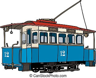 Vintage blue tramway - Hand drawing of a vintage blue...
