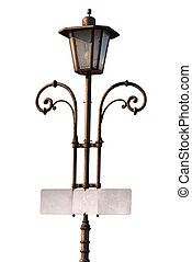 Vintage Lamp Post with Empty Signboard - Old vintage lamp...