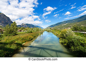 Sarca River - Trentino Italy - The Sarca River in the Sarca...