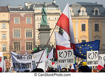 Cracow - the Demonstration against the surveillance on...