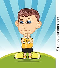 The boy crying vector illustration - full color