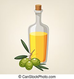 Vector bottle of olive oil with a branch of green olives.