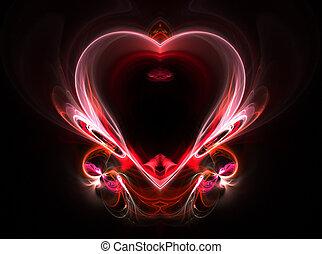 voando, Coração, ligado, Um, escuro, experiência.,...