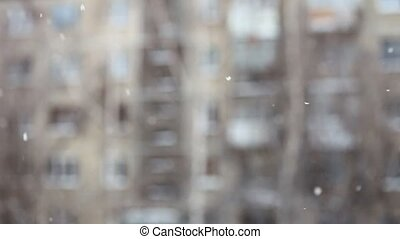 Snow falling - Falling snow Good winter weather Shallow DOF...