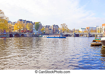 City scenic from Amsterdam at the Amstel in the Netherlands