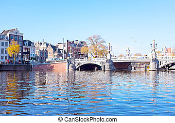 City scenic from Amsterdam at the Amstel in the Netherlands...