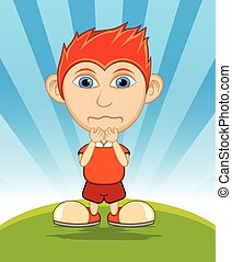 The boy crying cartoon vector illustration