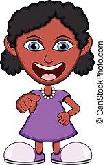 Little girl wearing a purple dress