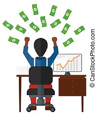Successful businessman with money. - An african-american man...