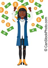 Happy woman with flying money. - An african-american...