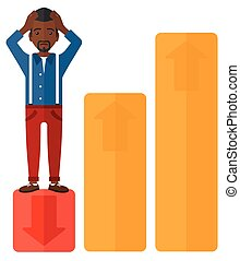 Businessman standing on low graph. - Upset businessman...