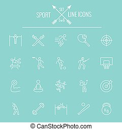 Sport icon set Vector white icon isolated on light blue...