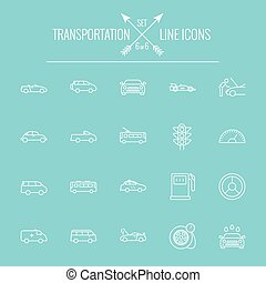 Transportation icon set Vector white icon isolated on light...