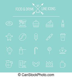 Food and drink icon set Vector white icon isolated on light...