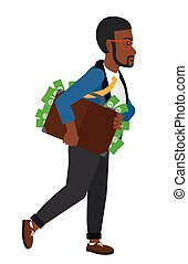 Man with suitcase full of money - An african-american...