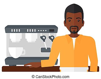 Barista standing near coffee maker - A barista with the...