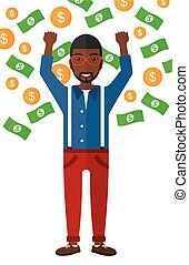 Happy man with flying money - An african-american...