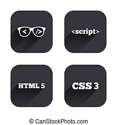 Programmer coder glasses HTML markup language - Programmer...