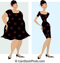 Before and after diet - Vector illustration of dieting woman