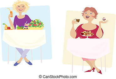 Diet - Vector illustration of two types of diet