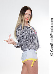 Sporty girl in jeans shorts with fit ass show middle finger....