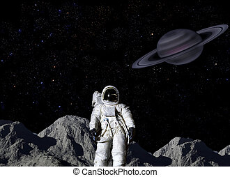 Astronaut on lunar surface - Astronaut on surface of Saturns...