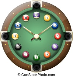 Pool table clock vector isolated - Pool table clock vector....