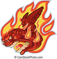 Buffalo or Hot Wing on Fire Vector - Vector cartoon clip art...