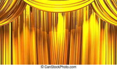 Gold Stage Curtain On Black Background 3D render Animation