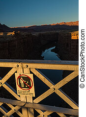 Do not throw rocks sign on the Navajo bridge in Arizona USA