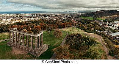 Edinburgh city skyline panorama viewed from Calton Hill....