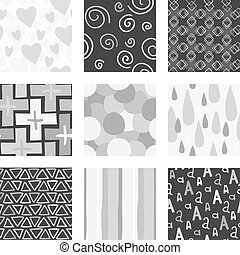 Unique gray random hand draw pattern set.