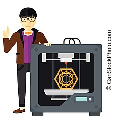 Man with three D printer - An asian man pointing forefinger...