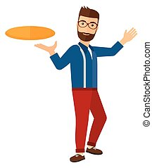 Man playing frisbee. - A man playing frisbee vector flat...