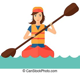 Woman riding in canoe. - A won riding in a canoe vector flat...