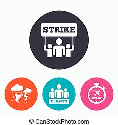 Strike icon Storm weather and group of people - Strike icon...