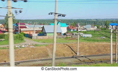 View from suburban train - View from the window of the...