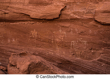 Petroglyphs - Ancient Anasazi petroglyphs carved into the...