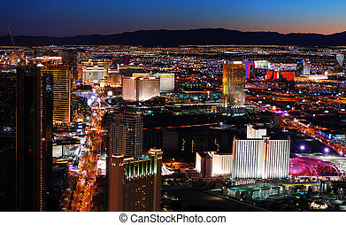 Las Vegas strip aerial view. Las Vegas City skyline panorama...