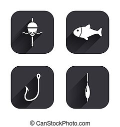 Fishing icons Fish with fishermen hook symbol - Fishing...