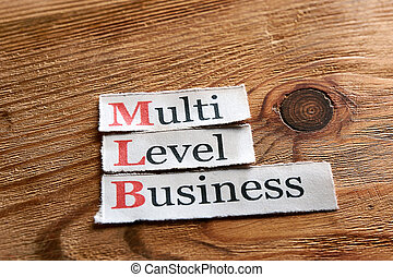 MLB- Multi Level Business written on paper on wooden...