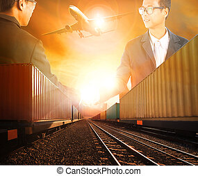 two business man successful shaking hand with railway...
